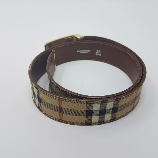 Burberry Tan, red multicolor Burberry Nova Check monogram belt Image 3