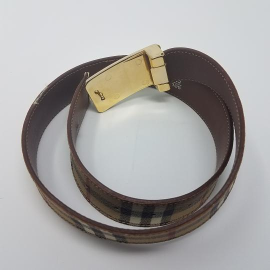 Burberry Tan, red multicolor Burberry Nova Check monogram belt Image 5