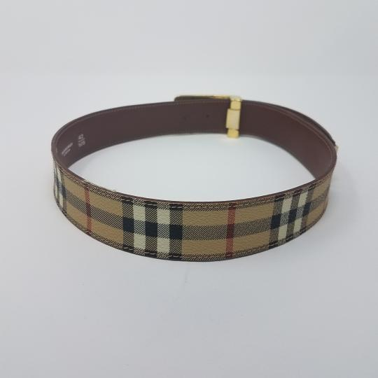 Burberry Tan, red multicolor Burberry Nova Check monogram belt Image 8