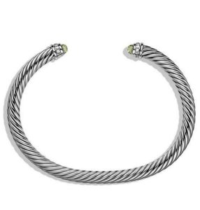 David Yurman David Yurman Silver Prasiolite Diamonds 925 Classic Cable 5mm Bracelet