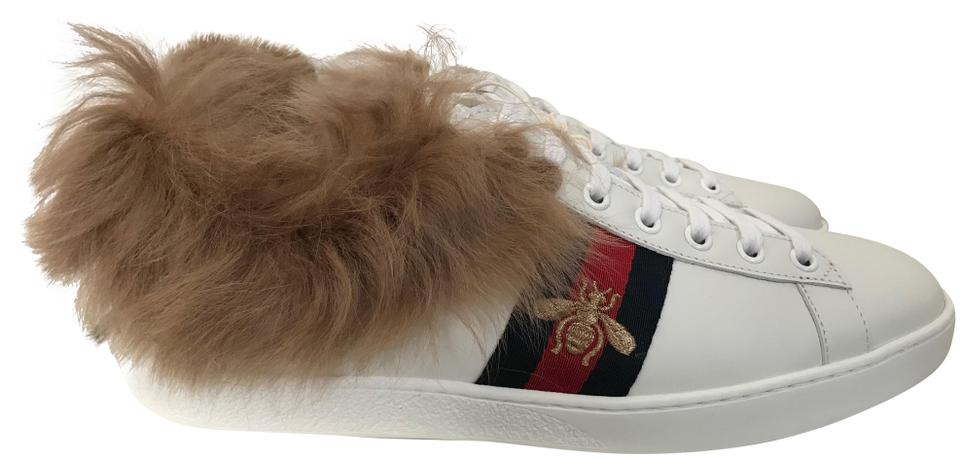 5e4f8ce6d483 Gucci White Ace Web Fur Lined Leather Low Top Sneakers Sneakers Size ...