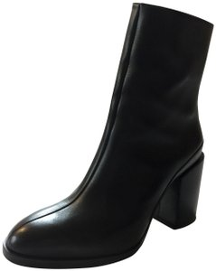 Dear Frances Chunky Heel Leather Black Boots