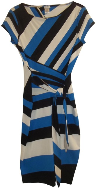 Cache Black Blue White Rn#74578 Mid-length Work/Office Dress Size 8 (M) Cache Black Blue White Rn#74578 Mid-length Work/Office Dress Size 8 (M) Image 1
