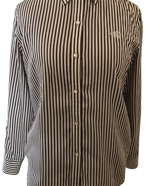 Preload https://img-static.tradesy.com/item/22675019/lauren-ralph-lauren-white-brown-pin-striped-and-blouse-button-down-top-size-12-l-0-1-650-650.jpg