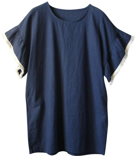 Preload https://img-static.tradesy.com/item/22675024/blue-chambray-with-ruffle-sleeves-short-casual-dress-size-4-s-0-1-650-650.jpg