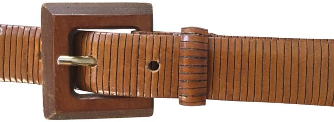Item - Tan Brown Textured Leather with Wood Buckle Belt