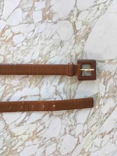 Anthropologie Textured leather belt with wood buckle Image 1