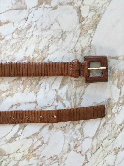 Anthropologie Textured leather belt with wood buckle Image 2