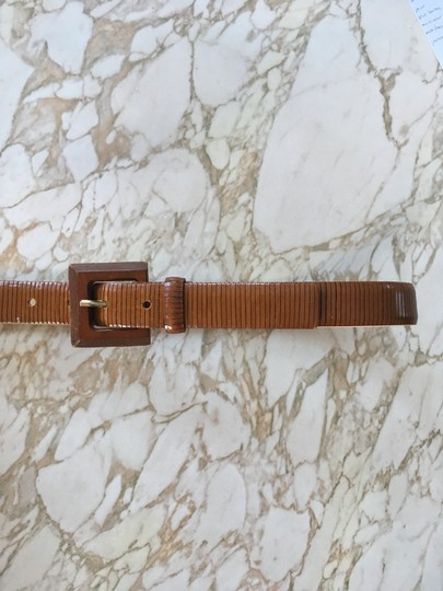 Anthropologie Textured leather belt with wood buckle Image 3