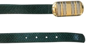 Dior Snakeskin Leather Belt with Mixed Metal Buckle