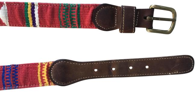 Anthropologie Brown Red Green Vintage Leather Woven Multi-color Belt Anthropologie Brown Red Green Vintage Leather Woven Multi-color Belt Image 1