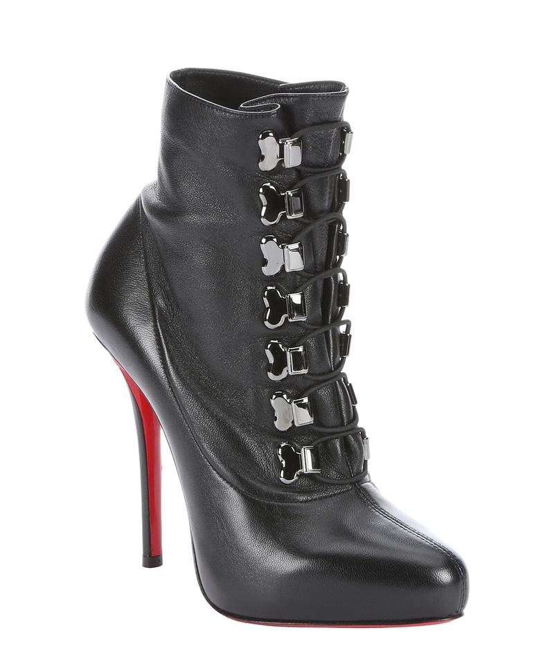 39e9140441f Christian Louboutin Black Troopista 37it Platform High Heel Knee Red Lady  Lace Up Leather Ankle Boots/Booties Size EU 37 (Approx. US 7) Regular (M, B)
