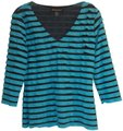Frank Lyman Ruffles 3/4 Length Sleeve Sheer Mesh Top Turquoise Black Image 0