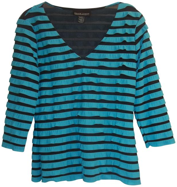 Preload https://img-static.tradesy.com/item/22675380/frank-lyman-turquoise-black-design-blouse-size-8-m-0-1-650-650.jpg
