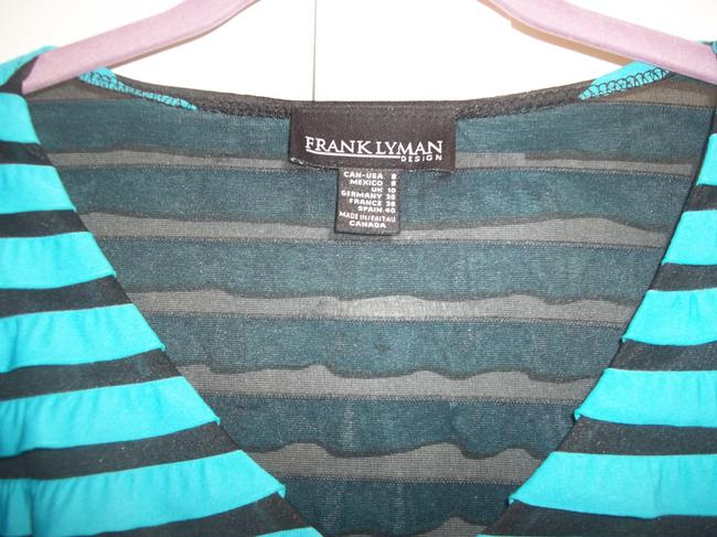 Frank Lyman Ruffles 3/4 Length Sleeve Sheer Mesh Top Turquoise Black Image 1