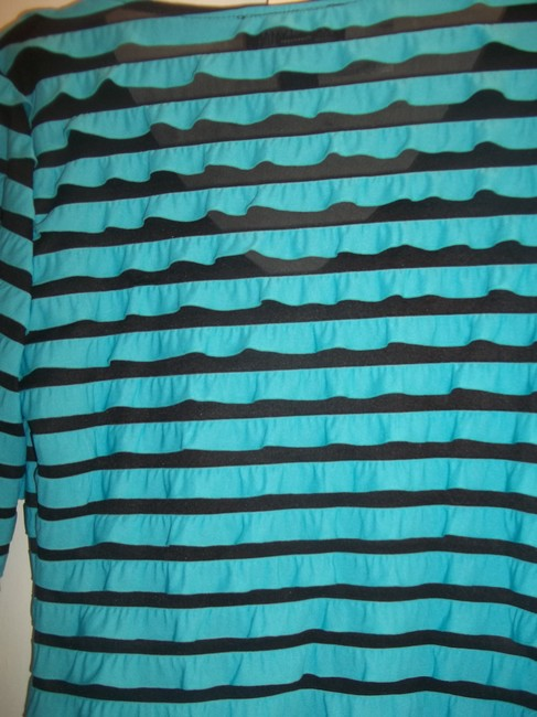 Frank Lyman Ruffles 3/4 Length Sleeve Sheer Mesh Top Turquoise Black Image 3