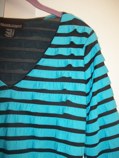 Frank Lyman Ruffles 3/4 Length Sleeve Sheer Mesh Top Turquoise Black Image 4