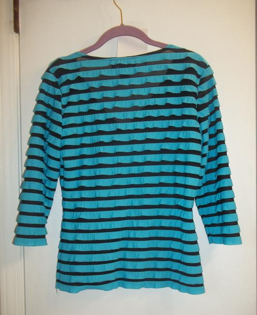 Frank Lyman Ruffles 3/4 Length Sleeve Sheer Mesh Top Turquoise Black Image 5