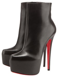 Christian Louboutin Ankle Platform Heel Thigh High Black Boots