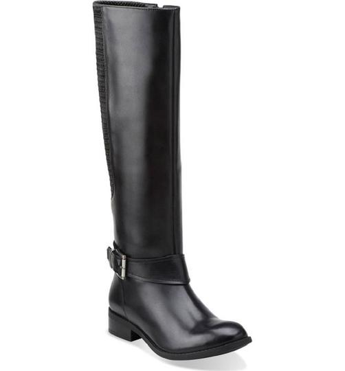 Clarks Leather Stretch Riding Black Boots