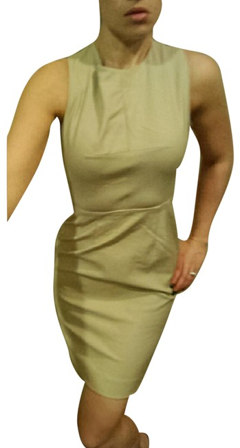 Item - Beige Nude Cross Back Fitted Sheath Mid-length Cocktail Dress Size 6 (S)