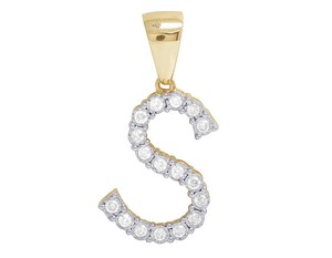 Jewelry Unlimited Unisex Real 10K Yellow Gold Genuine Diamond S Initial Pendant 0.42 Ct