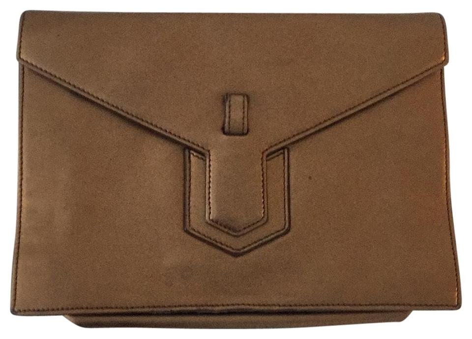 Leather Saint Saint Clutch Laurent Bronze Bronze Laurent xv0q0RX