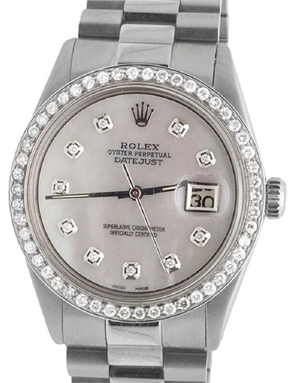 Preload https://img-static.tradesy.com/item/22676318/rolex-steel-white-mop-stainless-datejust-presidential-36mm-dial-25-ct-watch-0-1-540-540.jpg