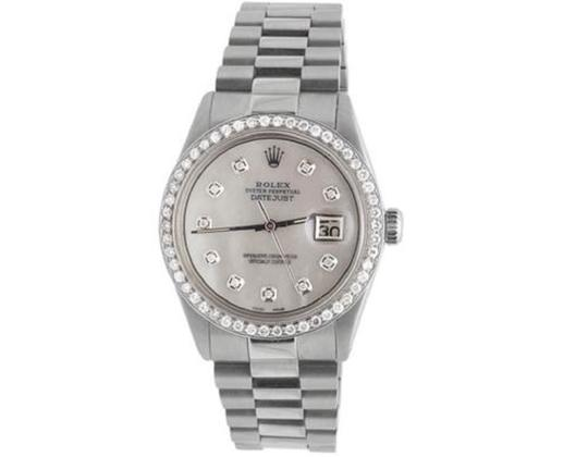 Rolex Stainless Steel Datejust Presidential 36MM White MOP Dial Watch 2.5 Ct