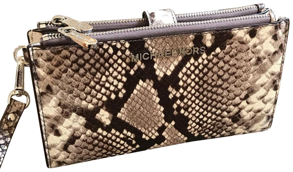 a69af8f5851f55 MICHAEL Michael Kors Jet Set Travel Double Zip Wallet Natural Embossed  Leather Wristlet