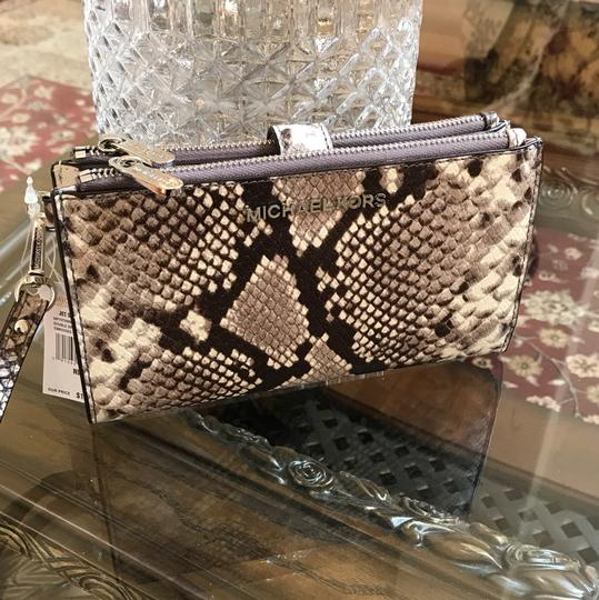 MICHAEL Michael Kors Embossed Leather Double Zip Animal Print Wristlet in natural