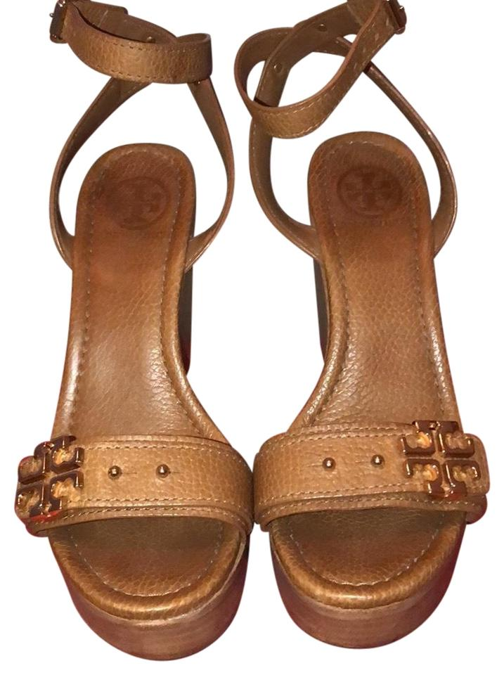fcd9feddb022 Tory Burch Tan Elina Wedge Sandals Size US 8 Regular (M