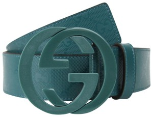 Gucci GUCCI Imprime Belt w/Interlocking G Buckle Teal 90/36 223891 4715
