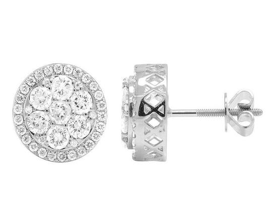 Jewelry Unlimited 14K White Gold Real Diamond Round Cluster Studs Earring 1.5ct