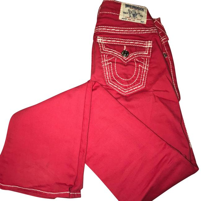 Item - Red/Coral/Pink Light Wash Flare Leg Jeans Size 24 (0, XS)