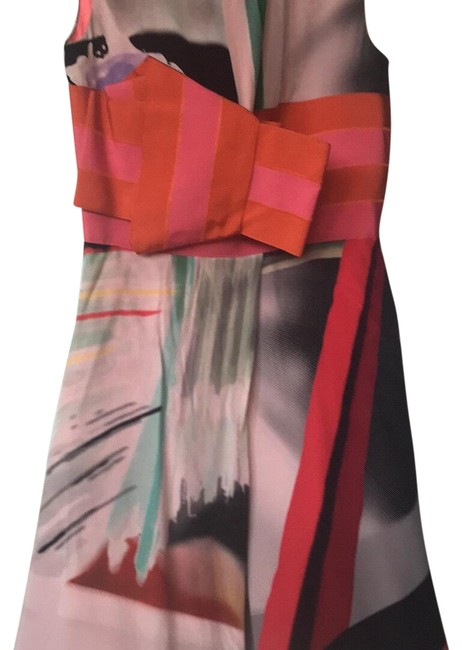 Item - Orange and Pink Multicolor Runway Mid-length Night Out Dress Size 6 (S)