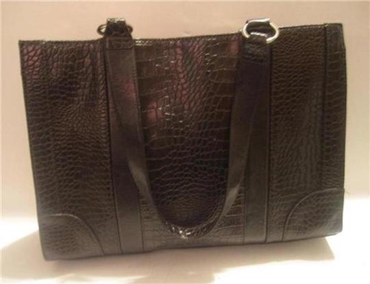 Coldwater Creek Silver Hardware Faux Croc Extra Large Laptop Carrier Tote in Brown
