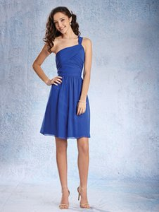 Alfred Angelo Cobalt Blue Chiffon 7358s Formal Bridesmaid/Mob Dress Size Petite 0 (XXS)