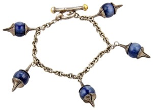 GURHAN Gatsby Sterling Silver Kyanite 5 Charms Chain Toggle Bracelet