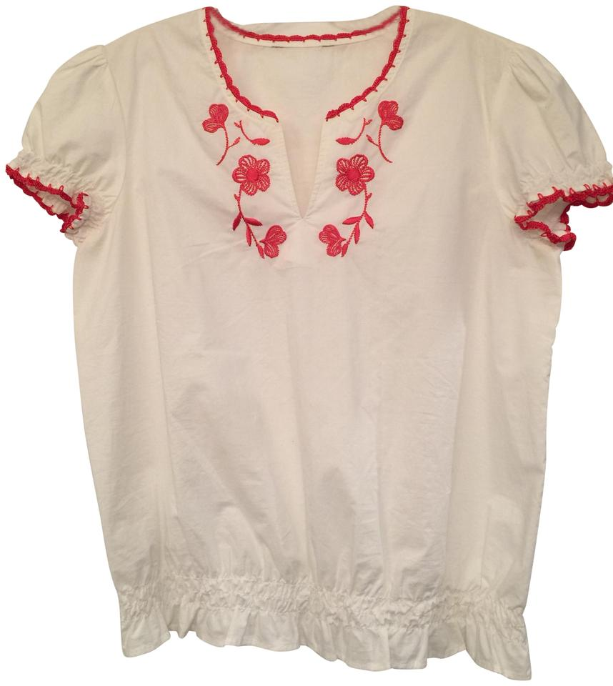 d30e762c6 Tommy Hilfiger White with Red Embroidery Cotton Pullover Blouse Size ...