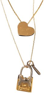 Tory Burch Tory Burch Metal Heart And Padlock Necklace Set Tory Gold/Tory Silver