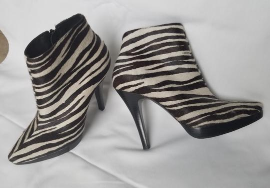 Steve Madden Stiletto Black white zebra stripes animal print Boots Image 2