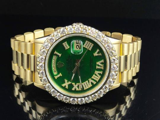 Rolex 18K Green Dial President Day-Date 18038 36MM Diamond Watch 6.5 Ct