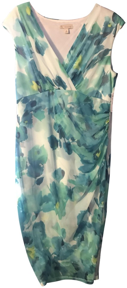 Dress Barn Teal And White Floral Sku 0436238 Mid Length Short Casual
