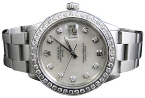 Rolex Mens Datejust Oyster Steel MOP Dial Diamond Watch 2.5 Ct