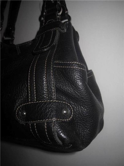 Tignanello Pebbled Leather Carryall Accent Stitching Silver Hardware Shoulder Bag