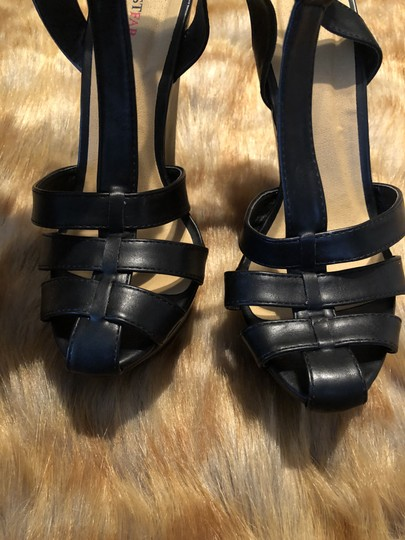 JustFab Platform Caged Toe Black Wedges