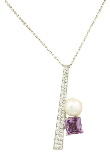 Preload https://img-static.tradesy.com/item/22677049/15175-koesia-diamond-amethyst-and-pearl-18k-gold-pendant-necklace-0-1-540-540.jpg