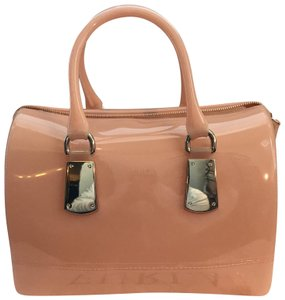 Furla Nude Handbag Locker Rose Gold Satchel in Peach