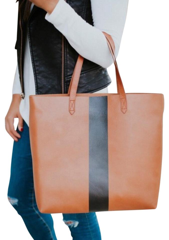 Madewell New Paint Stripe Transport Saddle Brown Leather Tote - Tradesy 5d310b7e7509b